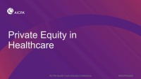 Private Equity and Health Care Investments