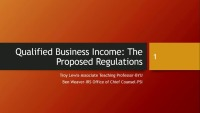 Qualified Business Income: The Regulations