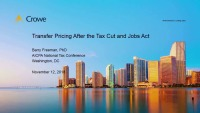 Transfer Pricing after the Tax Cuts and Job Act