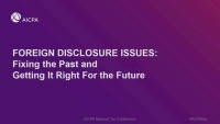 Foreign Disclosure Issues: Fixing the Past and Getting it Right for the Future