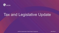 Tax and Legislative Update