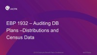 Auditing DB Plans - Distributions and Census Data