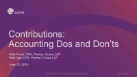 Contributions: Accounting Dos and Don'ts