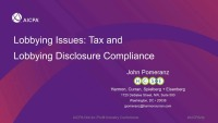 Lobbying Issues: Tax and Lobbying Disclosure Compliance