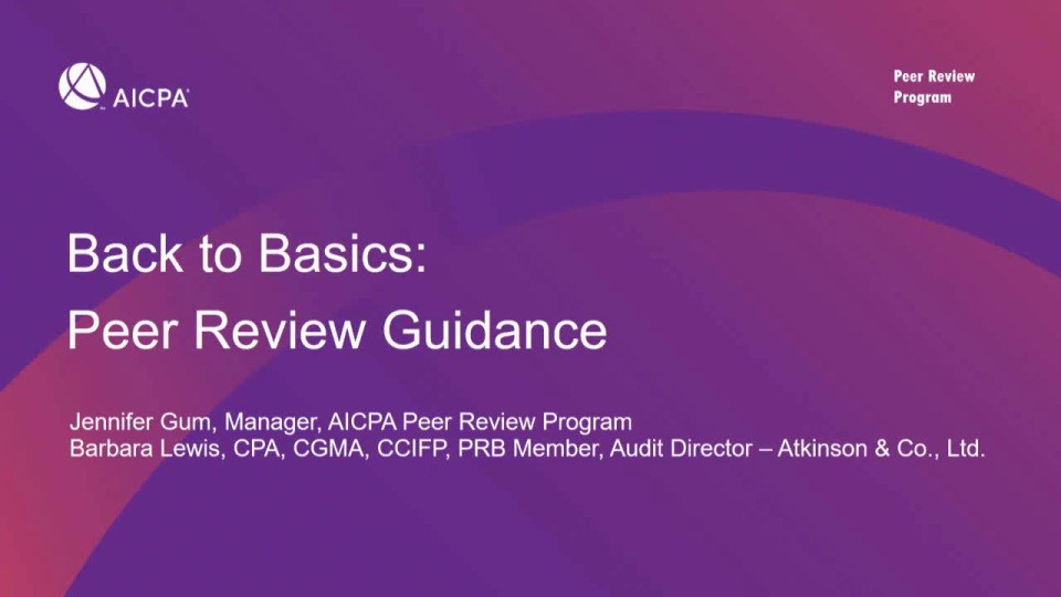 Back to Basics: Peer Review Guidance