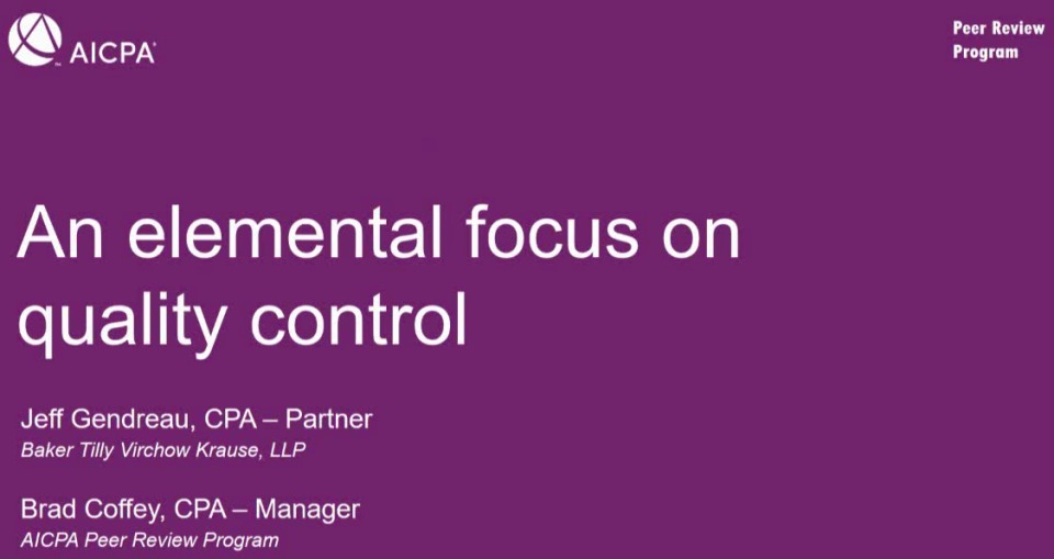 An Elemental Focus: Systems of Quality Control