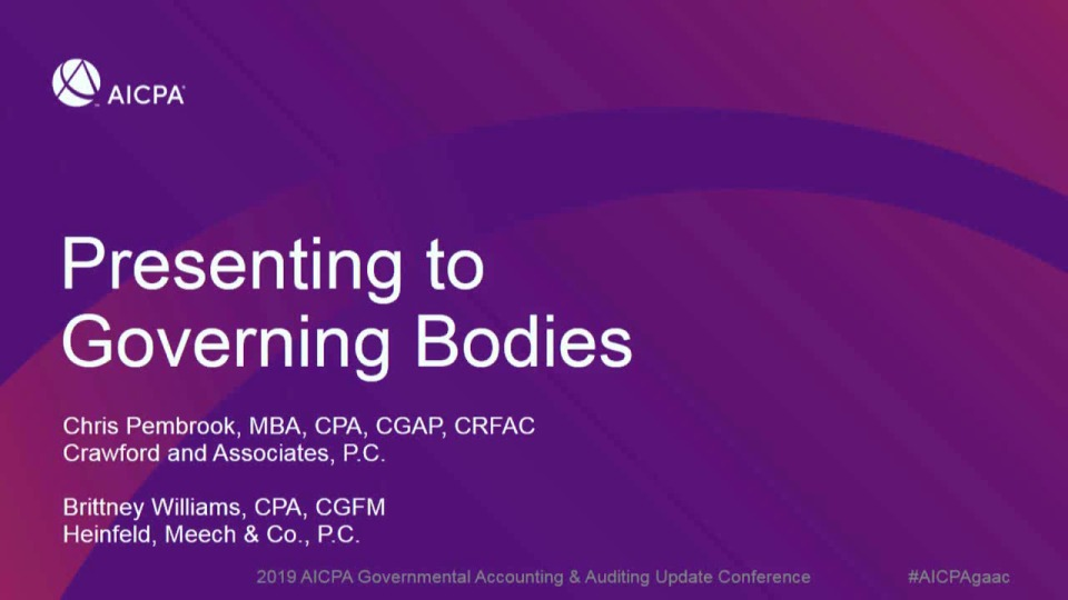 Presenting to Governing Bodies