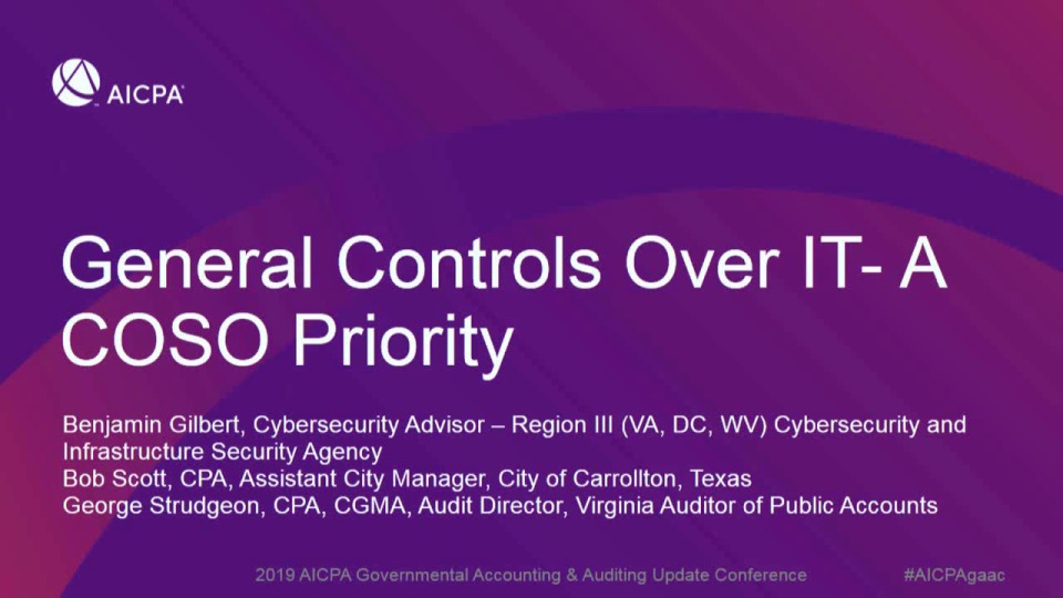 General Controls Over IT - A COSO Priority