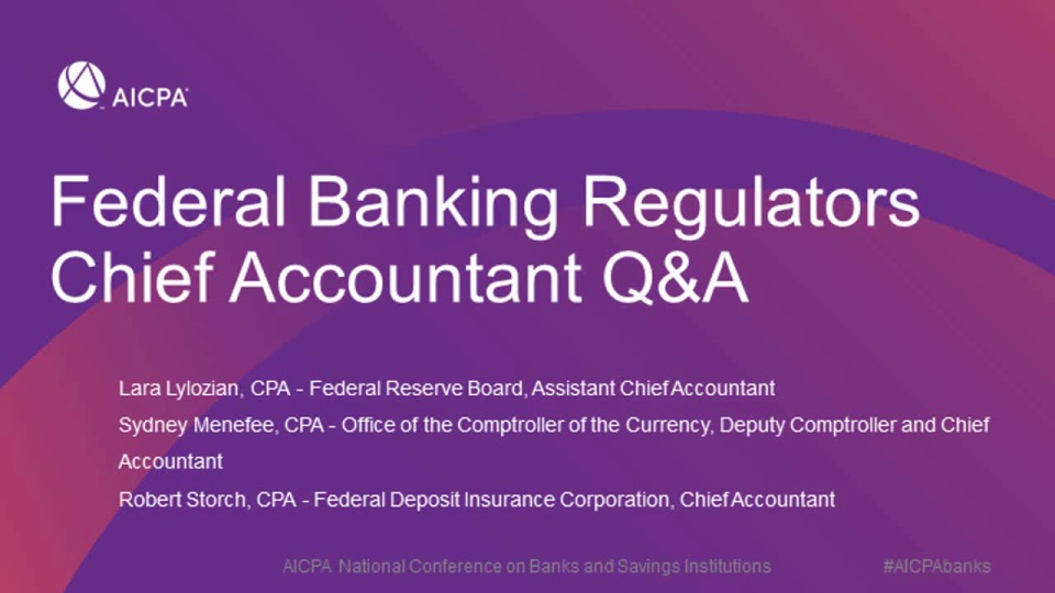 Federal Banking Regulators Chief Accountant Q&A