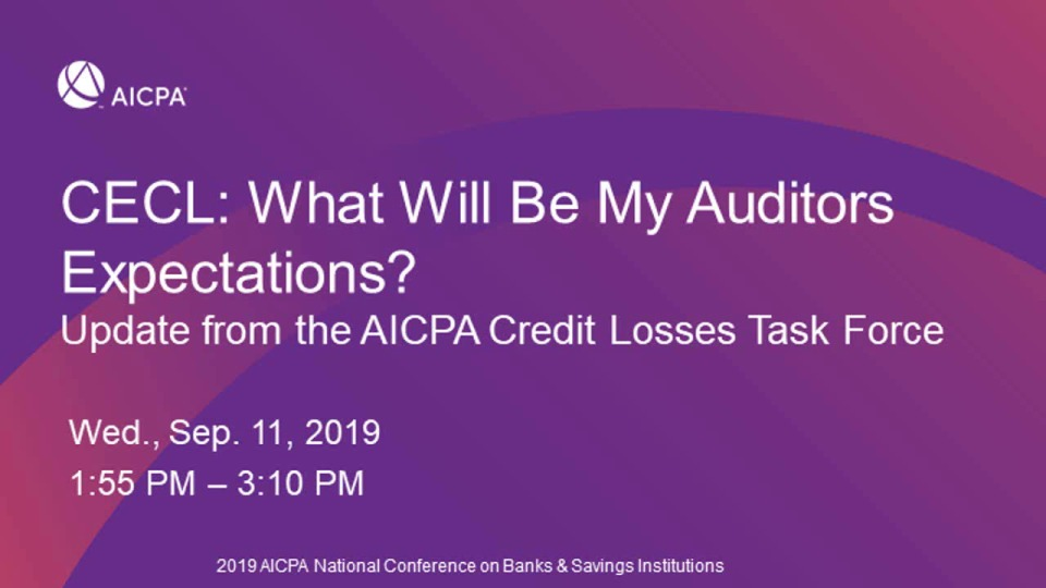 CECL: AICPA Task Force Update - Practice Aid & Accounting