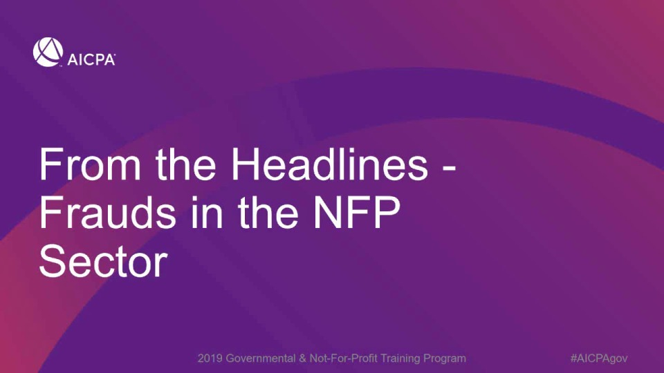 From the Headlines - Frauds in the NFP Sector