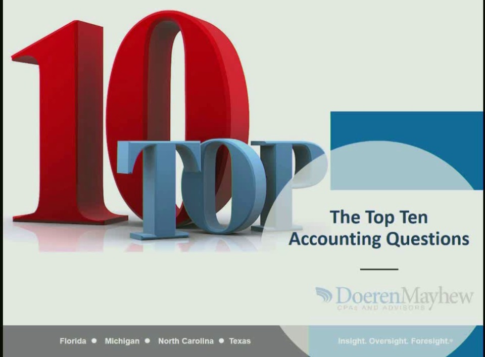 The Top Ten Accounting Questions