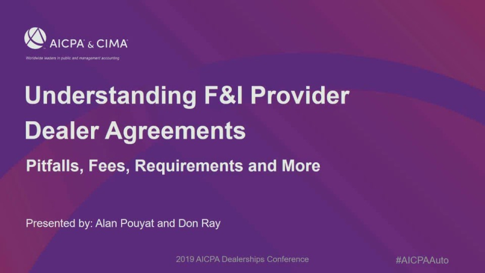 Understanding F&I Provider Dealer Agreements: Pitfalls, Fees, Requirements and More - Sponsored by Portfolio