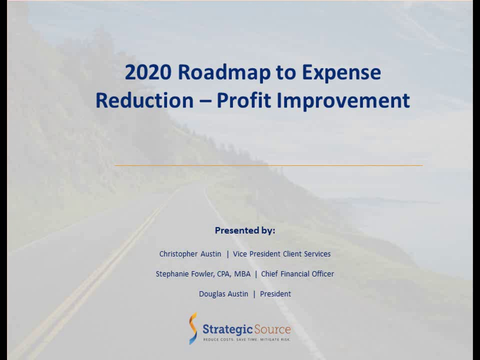 2020 Roadmap to Expense Reduction - Profit Improvement