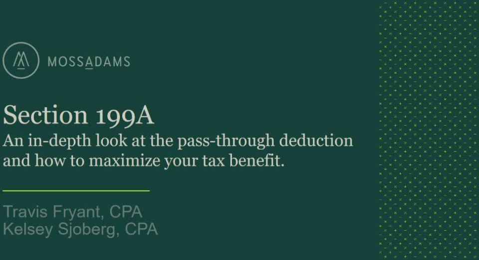 Section 199A: An In-depth Look at the Passthrough Deduction and How to Maximize Your Tax Benefit icon