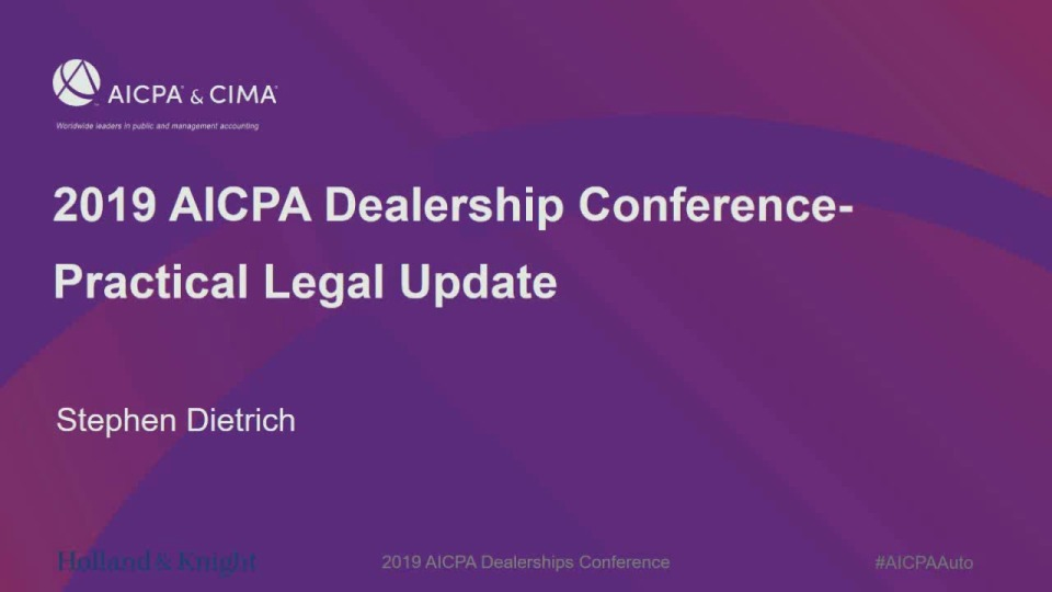 Practical Legal Update - What is Keeping Dealers Awake