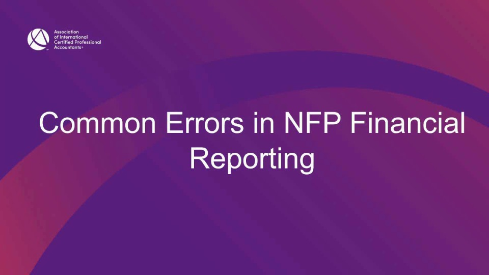 Common Errors & Deficiencies in NFP Reporting