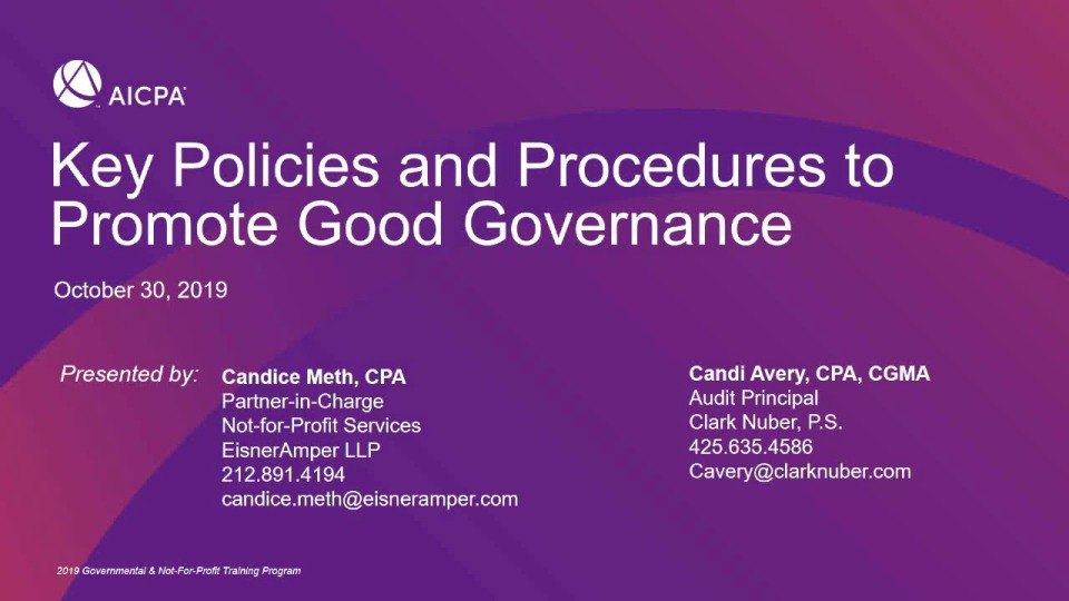 Key Policies and Procedures to Promote Good Governance