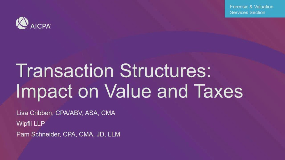 Transaction Structures and Impact on Value