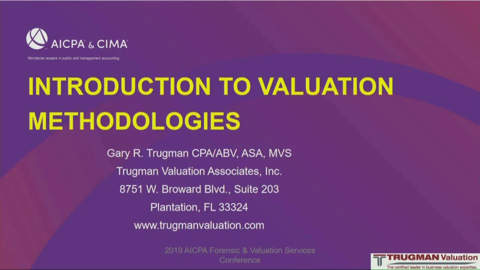 Introduction to Valuation Methodologies