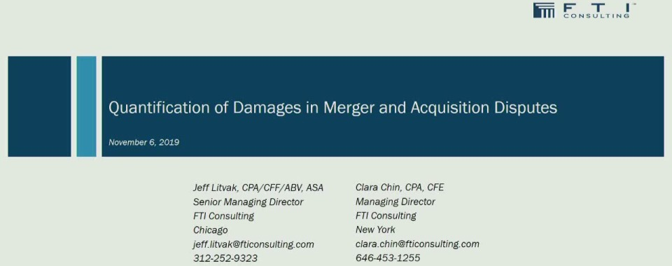 Quantification of Damages in Merger and Acquisition Disputes