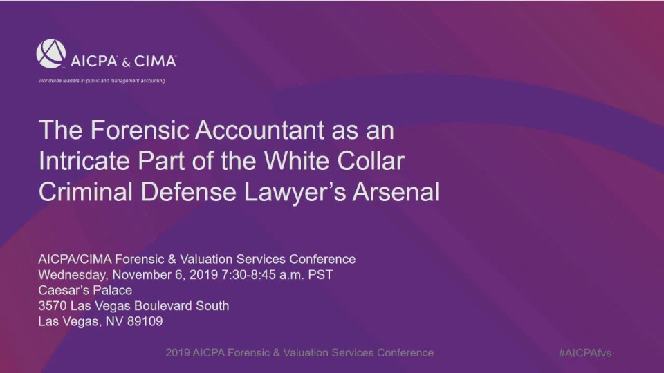 The Forensic Accountant as an Intricate Part of the White Collar Criminal Defense Lawyer's Arsenal