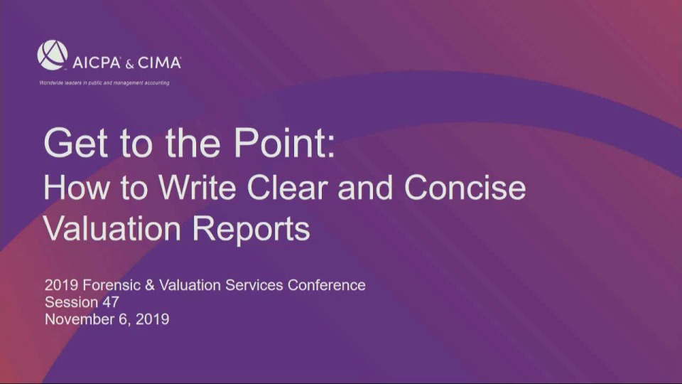 Get to the Point - How to Write Clear and Concise Valuation Reports