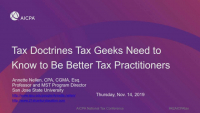 Tax Doctrines Tax Geeks Need to Know to Be Better Tax Practitioners
