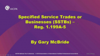 §199A:  Strategies and Traps Involving Specified Service Trades or Businesses