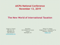The New World of International Taxation (GILTI, BEAT, FDII, and More)