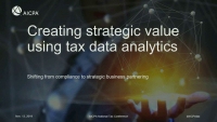 Create Strategic Value Using Tax Data Analytics