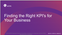 Finding the Right KPI's for Your Business