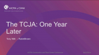 TCJA 2017 One Year Later
