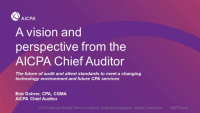 Welcome & Introduction | A Vision and Perspective from the AICPA Chief Auditor