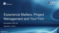 Experience Matters: Project Management and Your Firm