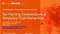 TAX2003. Tax Planning Considerations of Temporary TCJA Dismantling