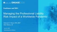PST2026. Managing the Professional Liability Risk Impact of a Worldwide Pandemic