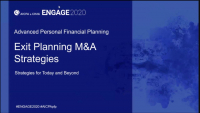 PFP2007. Exit Planning M&A Strategies for Today and Beyond