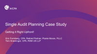 Single Audit Planning - Getting it Right Upfront