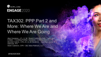 TAX302. PPP Part 2 and More: Where We Are and Where We Are Going