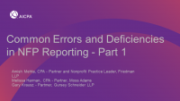 Common Errors and Deficiencies in NFP Reporting - Part 1