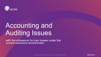 Accounting and Auditing Issues with the Allowance Under Current Economic Environment
