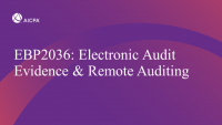 Electronic Audit Evidence & Remote Auditing