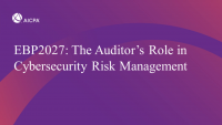 The Auditor's Role in Cybersecurity Risk Management