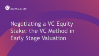 Negotiating a VC Equity Stake: the VC Method in Early Stage Valuation