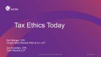 What's Happening in the Tax Ethics Arena?