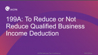 199A: To Reduce or Not Reduce Qualified Business Income Deduction