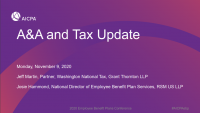 Welcome Remarks & A&A and Tax Update