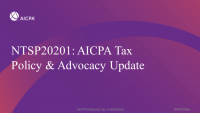 AICPA Tax Policy & Advocacy Update