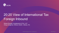 20:20 View of International Tax-Part III Foreign Inbound
